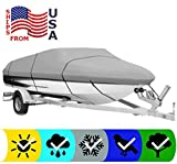 SBU Grey Heavy-Duty Boat Cover for Ranger Angler 1880 MSI 2019-600 Denier Woven Polyester - UV Protection - 10 Year Warranty & Storage Bag Included