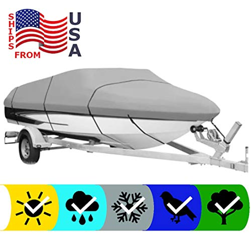 SBU Grey Heavy-Duty Boat Cover for SEA RAY 197 Monaco 1984-600 Denier Woven Polyester - UV Protection - 10 Year Warranty & Storage Bag Included