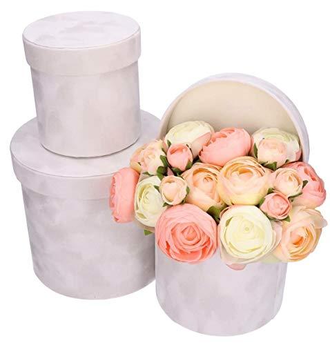 3er Set Blumenschachtel für echte Blumen, Schachtel mit Samt, Kunststoffeinsatz, wasserdichte Blumenbox, Geschenkschachtel, Geschenkbox in Weiß
