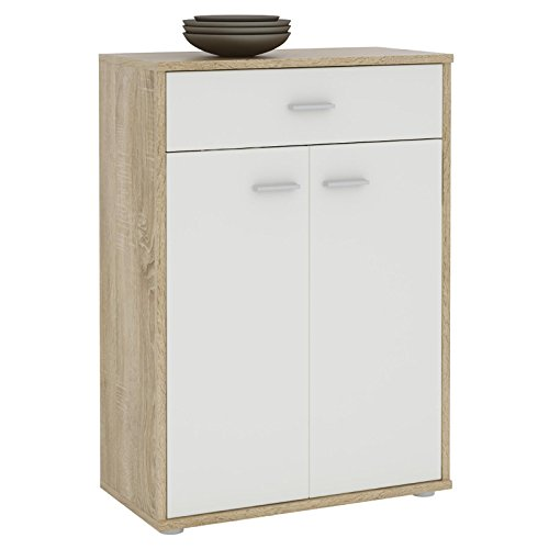 CARO-Möbel Kommode Sideboard Schrank Tommy in Sonoma Eiche/weiß, Anrichte Highboard mit Schublade und 2 Türen