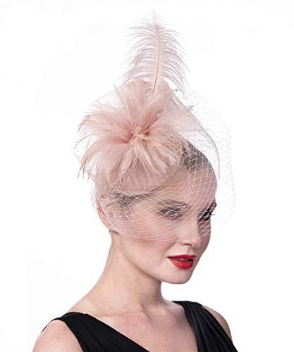 Fascinators Hat for Women Tea Party Headband Flapper Headpiece Kentucky Derby Wedding (FM01-Pink)