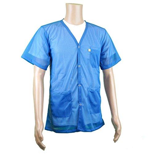 ESD Shielding Short-Sleeve V Neck Jacket | Light Weight Comfort Fabric | Lab Coat Length Anti-Static Smock from StaticTek | Certified Level 3 Static Shielding | Light Blue | 2X-Large | TT_JKV8826LBSS