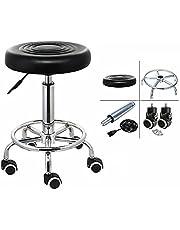 Draaibare rolkruk, werkstoelen, barkruk, werkkruk, cosmeticahok, 44-57 cm, rolkruk, in hoogte verstelbaar, moderne industriële metalen stijl, van PU-leer, zwart