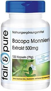 Extracto de Bacopa Monnieri 500 mg - Polvo de Brahmi en Cápsulas - 20% de Bacósidos - Vegano - Alta pureza - 120 Cápsulas