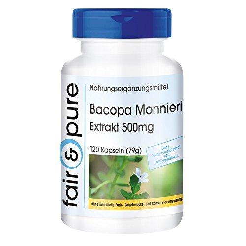 Estratto di Bacopa Monnieri 500 mg - Polvere di Brahmi in capsule - 20% Baccosidi - Vegano - 120 Capsule