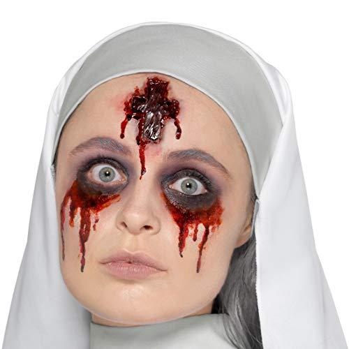 Amakando Grauenhaftes Zombie-Wundmal Kreuz-Zeichen / Rot mit Kleber / Unheimliches Kostüm-Zubehör Nonne aus Latex / Perfekt geeignet zu Horror-Party & Fasching