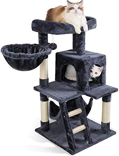 rabbitgoo Kratzbaum mit Hängematte Katzenkratzbaum Stabil Katzenbaum Klein Kletterbaum Katzenmöbel Plüsch Sisal mit Treppe Spielhaus Plattform für Kätzchen Katzen 99cm Dunkelgrau