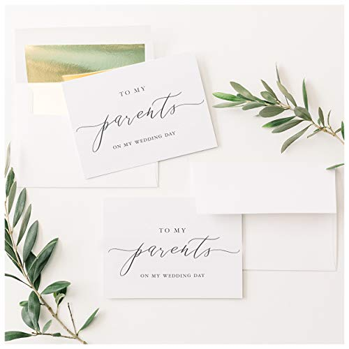 To My Parents on My Wedding Day Cards 4x5.5 Folded White Card with Black Caligraphy with Gold Foil Lined Envelopes 2 Card Set Elegant Minimalist Style Wedding Cards