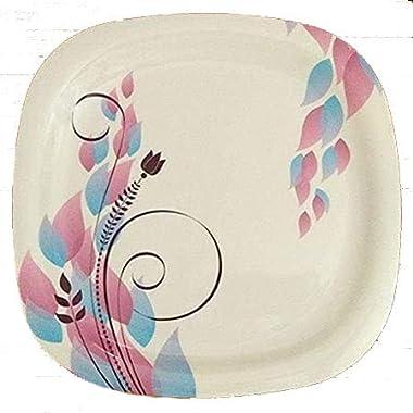 Decornt Green Paris Leafy-Design Dinner Plates; Made of Food-Grade Melamine Material;Square Shape; Diameter 11 Inches; Set of