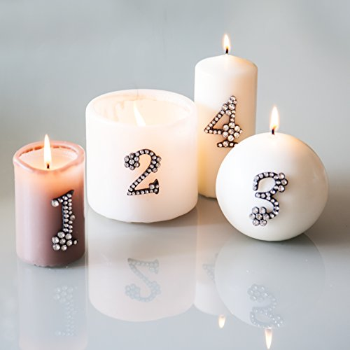 Adventsdekoration 1 2 3 4, Metall- Strass- Kristall Zahlen zum dekorieren von Kerzen (Adventskranz), Gestecken oder weihnachtlichen Dekorationen. Kerzenstecker, Kerzen- Pin …