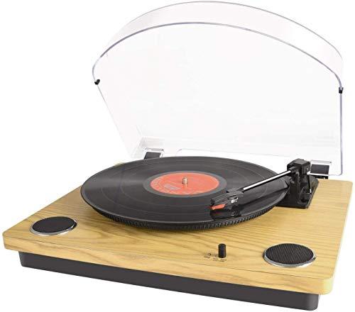 Bluetooth Plattenspieler für Vinyl mit Stereo-Lautsprechern, Schallplattenspieler Vinyl-zu-USB-Konvertierung, Automatische Rückkehr und Stopp-Funkt