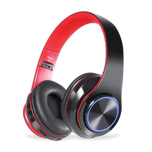 FXMINLHY LED Kleurrijke ademlichten, draagbare vouwing, ingebouwde FM draadloze bluetooth-hoofdtelefoon met MIC-ondersteuning TF-kaart MP3-speler zwart-rood