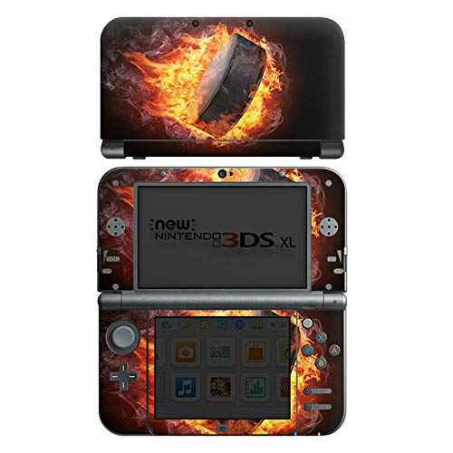 DeinDesign Skin kompatibel mit Nintendo New 3DS XL Aufkleber Sticker Folie Eishockey Flammen Slapshot