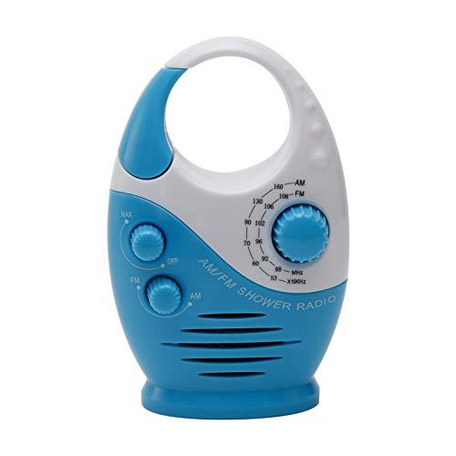 Duschradio, wasserdichtes AM-FM-Radio mit hängendem Griff oben, Mini-spritzwassergeschütztes Badezimmerradio für den Außenbereich (blau)