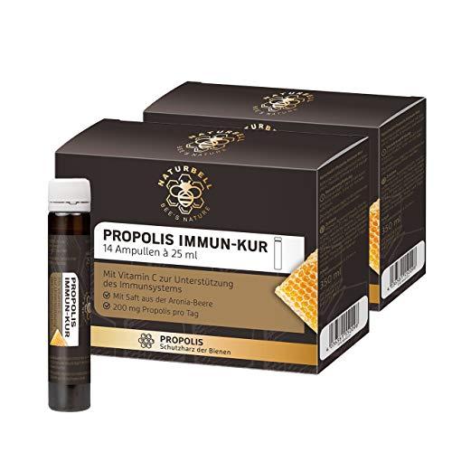 Naturbell Propolis Immun-Kur, Nahrungsergänzungsmittel mit Propolis und Vitamin C zur Unterstützung des Immunsystems, enthält L-Histidin und Echinacea, mit Aroniasaft verfeinert, 2 x 14 Ampullen