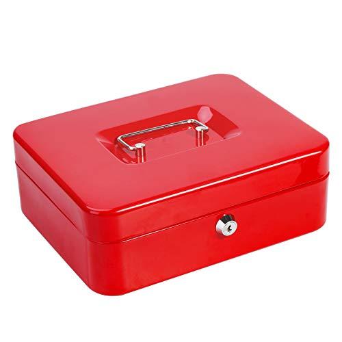 Caja de caudales de metal con bandeja para dinero, caja de caudales Parrency con cierre de llave para seguridad, color rojo, tamaño mediano 9 4/5 x 7 4/5 x 3 1/2 pulgadas