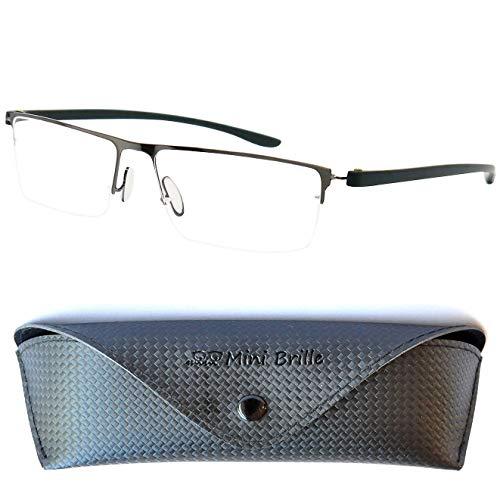 Halbbrille Lesebrille mit rechteckigen Gläsern, GRATIS Brillenetui, Leichten Edelstahl Rahmen (Graphit), Lesehilfe Herren und Damen +1.5 Dioptrien