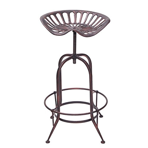 Decent Home Retro Bar Stools Industrial Rustic with Step Counter Hight Metal Adjustable Swivel Trackor Seat (Antique Bronze)
