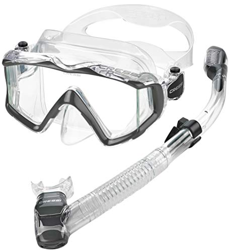 Cressi Panoramic Wide View Mask & Dry Snorkel Kit for Snorkeling, Scuba Diving | Pano 3 & Supernova Dry: Designed in Italy, Clear Grey, Size 0 (P-USC400072_1)