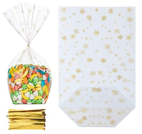 Adorfine 100 Stück Bodenbeutel Schneeflocken Gold 145 x 235 mm OPP Zellglastüten mit Gold Band Verpackung Keksbeutel Gebäckbeutel Süßigkeiten Weihnachtsbeutel Klarsichtbeutel Folienbeutel Tüten