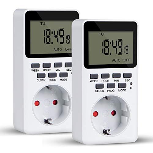 Digitale Zeitschaltuhr, 20 Programme Zeitschaltuhr Steckdose mit Kinderschutzsicherung Programmierbarer Plug-In-Timer-Schalter, LCD Display und Einbruchsicheren Zufallsschaltung(2 Stück)