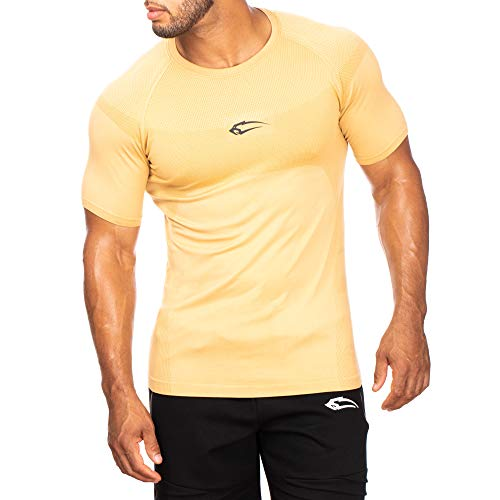 SMILODOX Herren T-Shirt Clearly | Kurzarm | Casual Top | Funktionsshirt für Sport Fitness Gym & Training | Trainingsshirt - Laufshirt - Sportshirt mit Logo, Farbe:Beige, Größe:S