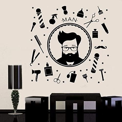 Sticker Mural Autocollant Chambre Homme Salon De Coiffure Logo Salon De Coiffure Rasage Ciseaux Accessoires De Coiffure Pour Hommes57X56 Cm