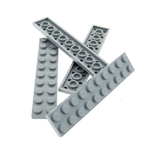 4 x Lego System Leiste Basic Bau Platte Stein neu-hell grau 2 x 10 für Set Star Wars 75043 75019 7675 10227 71040 75103 6211 7094 21303 3832