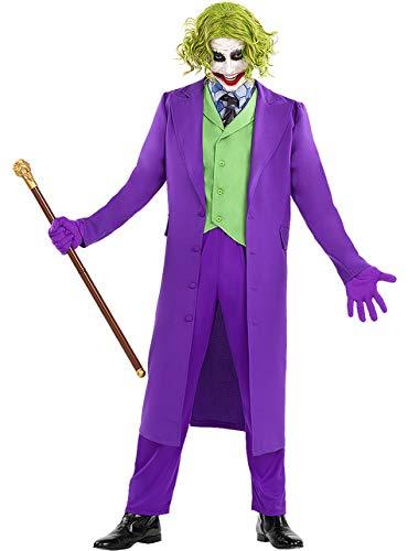 Funidelia | Disfraz de Joker - El Caballero Oscuro Oficial para Hombre Talla S ▶ Superhéroes, DC Comics, Villanos, Chaqueta, Chaleco con Cuello y Corbata incorporados, Pantalones, Guantes