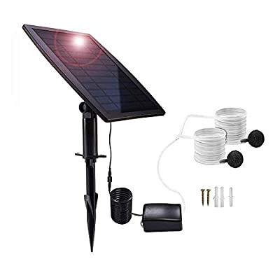 Lancoon Solar Powered Air Pump Kit, 2.5W Solar Panel, Air Pump, Air Hoses and Airing Stones for Garden Fish Tank Pool Fishing Pond