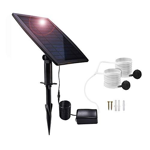 Lancoon Kit De Bomba De Aire con Energía Solar, Panel Solar De 2.5W, Bomba De Aire, Mangueras De Aire Y Piedras De Ventilación para Piscina De Estanque De Peces De Jardín Estanque De Pesca
