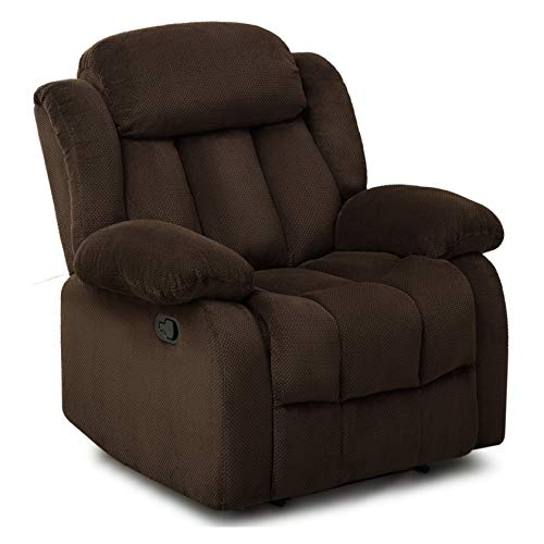 Merax Manual Recliner Chair Single Sofa, Including Overstuffed Cushions for Home Theater Living Room, Carob