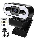 1080P Webcam mit Mikrofon, HD Facecam Live Streaming Webcam mit Ringlicht für PC/ Laptop, USB Kamera mit Abdeckung, Stativ, für Zoom, Skype Video Chat und Aufnahme (Kühles/Warmes/Natürliches Licht)