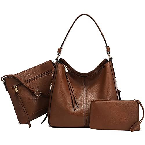 Realer Handbags for Women Hobo Purses and Handbags Large Crossbody Bags Ladies Shoulder Tote 3PCs Purse Set