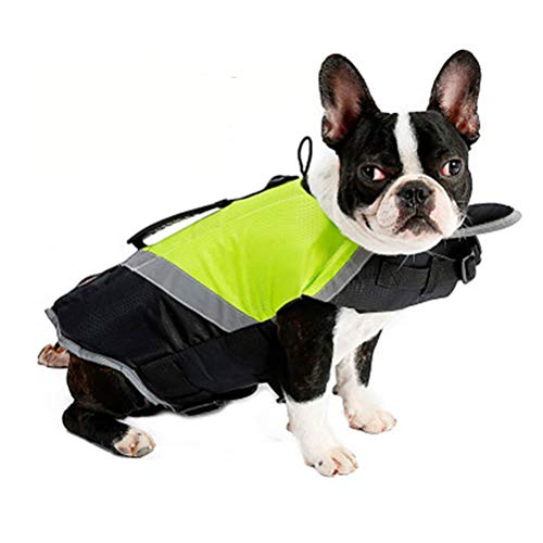 clotheswl Dog Life Jacket, Pet Professional Swimwear Swimming Vest, with Superior Buoyancy & Rescue Handle, Sports Lifesaver Reflective Safety Vest - Best in Pool, Beach, Boating (L)