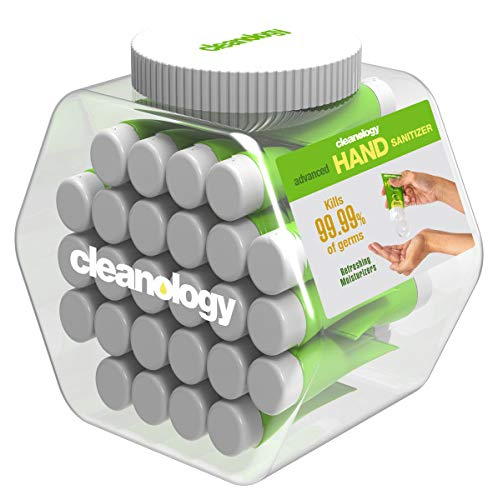 Cleanology 48 Pack Hand Sanitizer Gel, Scented, 70% Ethyl Alcohol, 1 FL OZ Travel Tube, Non-Drying & Gentle for Frequent Use, Smooth Texture, Stays On Hands - Fights Germs & Bacteria