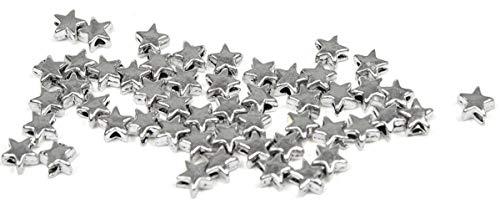 Sadingo Metallperlen Sterne, Spacer Beads, Sternperlen, Zwischenperlen - 50 Stück - 6x6 mm - Antiksilber - DIY Schmuck
