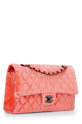 CHANEL Orange Velvet Double Flap Shoulder Bag (Renewed)