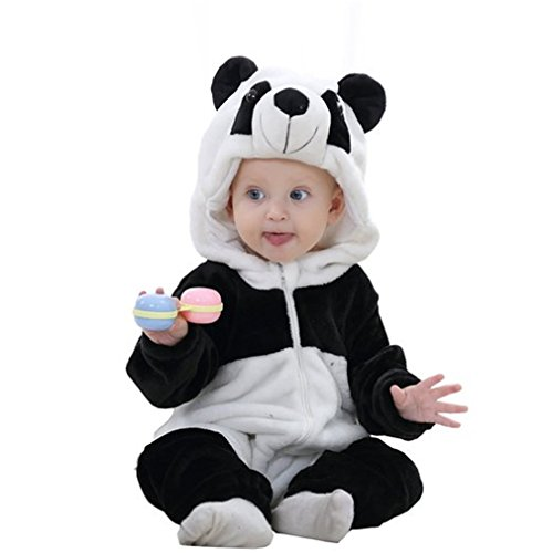 MICHLEY Baby mädchen und Junge Flanell Frühling Strampler Pyjama kostüm Bekleidung Karikatur Tier Jumpsuit Spielanzug Schlafanzug (Panda 90)
