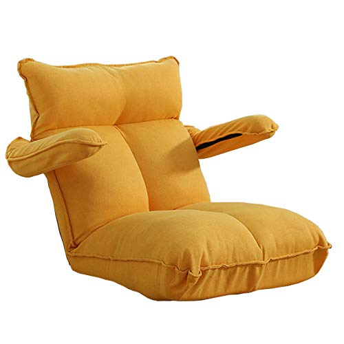 NYDZ Cojín ajustable para sofá de suelo perezoso, plegable, silla de suelo, 14 posiciones, plegable, acolchada, tumbona con reposabrazos y una almohada para dormitorio, sala de estar, oficina en casa