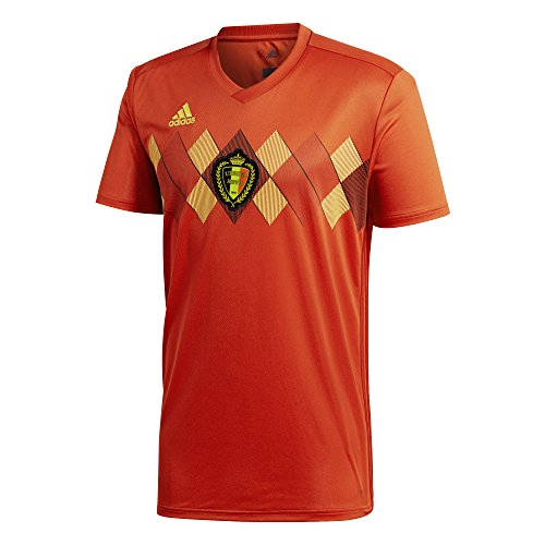 adidas Men's Belgium Home Soccer Jersey (X-Large) Vivid Red/Power Red/Bold Gold …