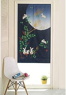 MSFREN Japanese Noren Doorway Curtain Tapestry with Rabbit Blue Moon Night