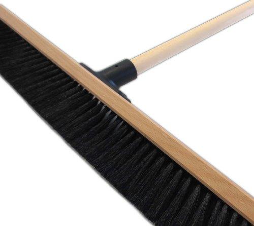 Saalbesen 60 cm inkl. Holz-Besenstiel 140 cm schwarze Qualitätsborstenmischung Kehrbesen Stubenbesen