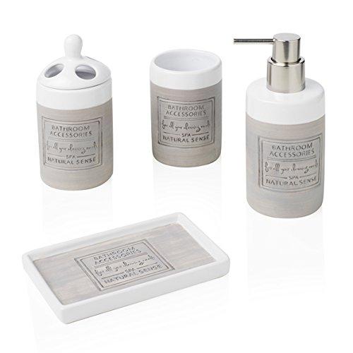 BRANDANI - Juego de Accesorios para baño (4 Piezas, Piedra de Color Blanco, Talla única)