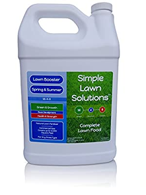 Advanced 16-4-8 Balanced NPK- Lawn Food Natural Liquid Fertilizer- Spring & Summer Concentrated Spray - Any Grass Type- Simple Lawn Solutions