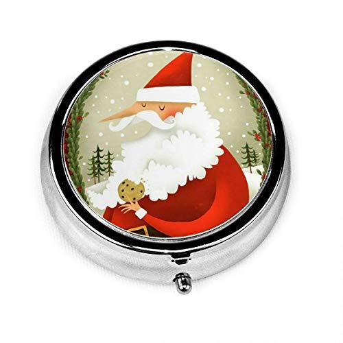 Weihnachten Santa isst Kekse Rentier Weihnachten Vintage Neuheit Runde Pille Box Tasche Medizin Tablettenhalter Organizer Fall für Geldbörse