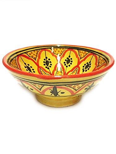 Orientalische Keramikschale Keramikteller Rund Amoda Ø 15cm Groß | farbige marokkanische Keramik Schale Teller bunt aus Marokko | Orient große Keramikschalen flach Geschirr orientalisch handbemalt