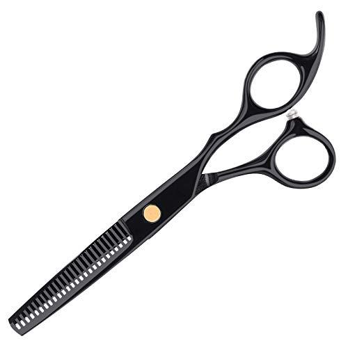 Tijeras de entresacar profesionales de acero inoxidable, tijeras para adelgazar y en forma de corte preciso, corte de pelo perfecto para niños, mujeres, hombres y mascotas, color negro