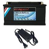 Batterie LifePo4 12v 100Ah 3000-7000 Cycles profonds avec fer au lithium BMS pour moteur de pêche à la traîne Panneaux solaires RV Appareils bateau Chariots de golf marins avec chargeur