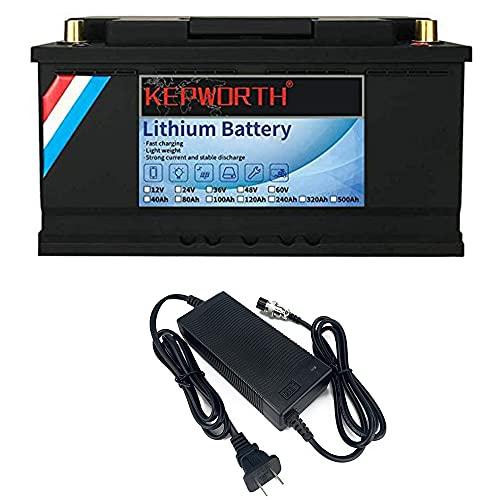 LifePo4 Batterie 12V 120Ah Bis zu 7000 Tiefenzyklen mit BMS Lithium-Eisen für Trolling-Motor Solar RV Haushaltsgeräte Marine Golfwagen Energiereserve Netzteil Notbeleuchtung Inklusive Ladegerät